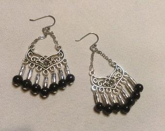 Earrings, dangle earrings with blue goldstone