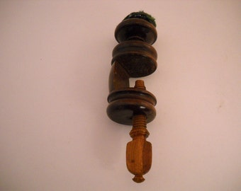 Vintage Wood Table Top Clamp on Sewing Aid With Pin Cushion