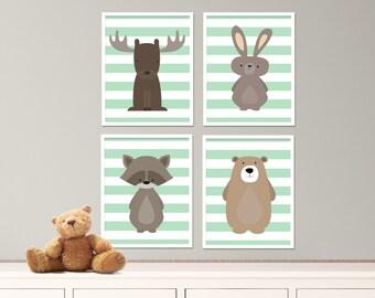 "Mint Green Woodland Animals Nursery Art Print Set, Baby Nursery, Mint Green Nursery Decor, Set of 4-8x10"" Digital Instant Download -S349"