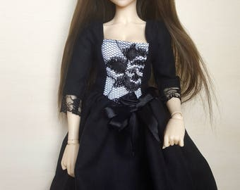 BJD gothic lolita lace dress, for MSD (1/4) sized slim dolls (Minifee, Unoa, Souldoll)
