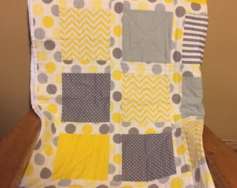 Gray and Yellow Poke-a-dot Quilt