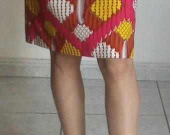 Straight skirt in wax yellow, pink, orange