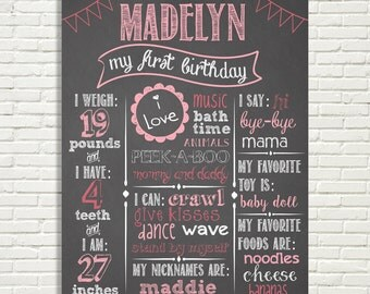 "First Birthday Chalkboard Sign 16x20"" Poster Pendants Pink *Choose Your Own Colors*  Digital File ONLY"