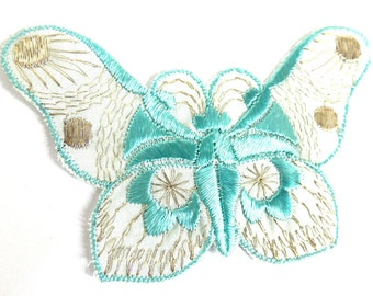 Antique Butterfly Patch, 1930s vintage embroidered applique. Vintage patch, sewing supply. Applique, Crazy quilt. #6A7GB8KF