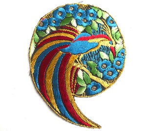 Bird of paradise Applique 1930s Vintage Embroidered Bird applique, application, patch. Vintage patch, sewing supply.  #6A7GB8KF