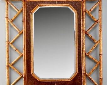 Bamboo and Leather Framed Wall Mirror [1759]