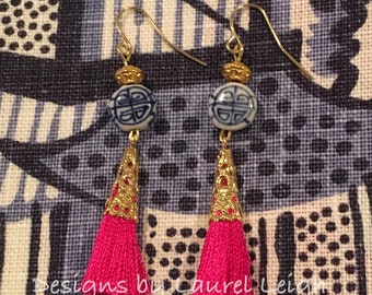 SALE | Chinoiserie Tassel Earrings | HOT PINK, blue and white, royal blue, porcelain, pink, gold, fuchsia, Chinese
