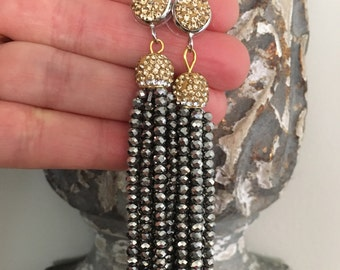 SALE | Beaded Tassel Earrings | Post earrings, SILVER and GOLD, Gunmetal, dressy, party, bridal, wedding, bridesmaid gift, statement earring