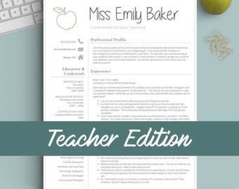 teacher resume template for word pages 1 2 and 3 page resume template