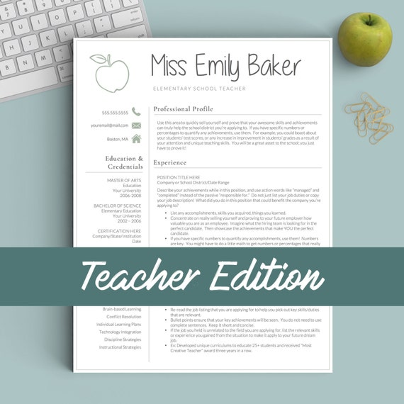 Teacher Resume Template For Word & Pages 1 2 And 3 Page