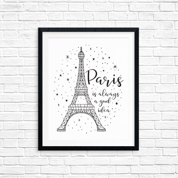 Printable Art, Paris is Always a Good Idea, Audrey Hepburn Quote, Sabrina, Typography Quote Art, Digital Download Print, Quote Printables