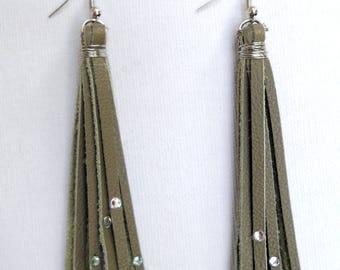 Leather Earrings Tassel, Sage Green, Tassel Earnings, Handmade in Michigan