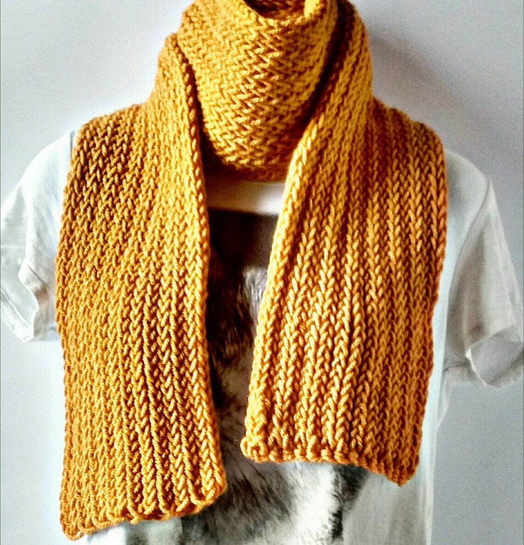 mustard yellow chunky handmade scarf scarf s