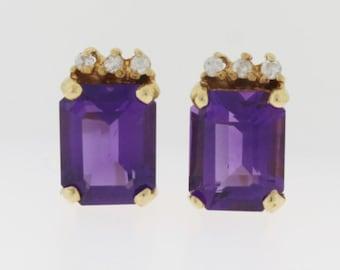 Emerald Cut Amethyst Earrings -14k Yellow Gold Earrings - Amethyst Diamond Earrings - February Birthstone