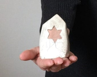 Candle holder Home with Raku ceramic star