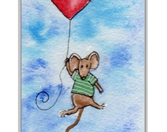Hand-Painted Card - mouse heart balloon.