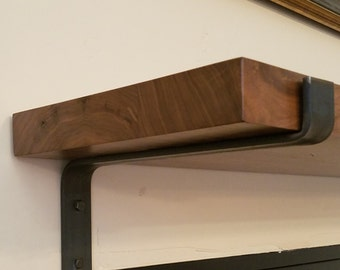 "Modern Industrial Metal Shelf Brackets, Heavy 1.5""x.25"" Handmade in the USA"