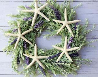 Summer wreath coastal wreath spring wreath beach house wreath starfish wreath lavender wreath beach wedding wreath nautical wreath