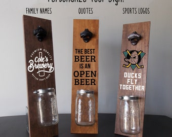 Custom Beer bottle opener, Wall Mounted Bottle Opener sign, Bar sign, Personalized Beer Sign, Backyard sign, Gifts for him, gifts for Dad