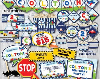 Self-Editing Transportation Birthday Decorations-Printable Transportation Party Decors-Airplane Car Train Truck-First Birthday-Any Age Party