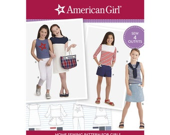 Sewing Pattern American Girl Child's Outfits, American Girl Designs, Nautical/Patriotic Style, Simplicity Pattern 8398, Matching Doll Avail