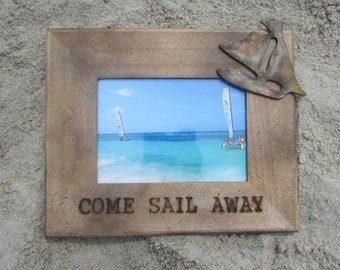 Come Sail Away Wooden Picture Frame with Sailboat Shape