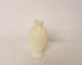 Vintage White Cinnabar Asian Vase, Vintage vase, white vase, asian vase, collector cinnabar, Collectible Asian, Dragon vase, Asian decor