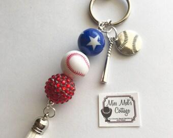 Baseball Bling Keychain/zipper pull with tassel and charms/MLB/Baseball Season