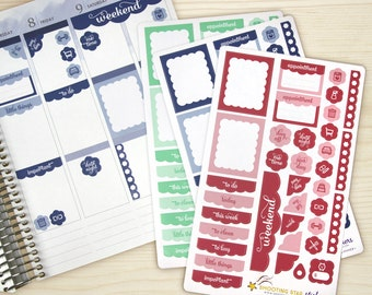 Planner Sticker Set - ECLP Vertical weekly organizer stickers - 36 colorful headers, icons, ...