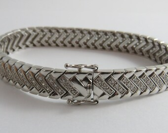 "Sterling Silver Thai 8"" Cubic Zirconia Bracelet"