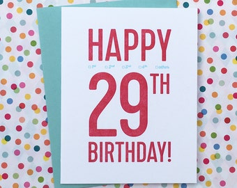 29th birthday card etsy letterpress 29th birthday card bookmarktalkfo Images