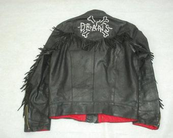 Vintage British Black Leather Fringed Cafe Racer Motorcycle Jacket YKK & Newey Large
