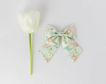 Mary Floral Sailor Bow, Hair Clip, Hair Bow, Toddler Bows, Hair Clips, Girl Hair Bow, Hair Accessories