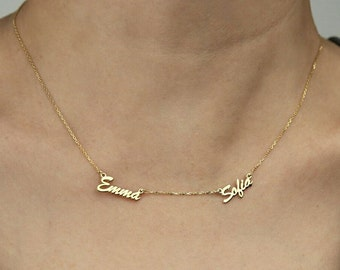 Personalized Two Name Necklace-Gold Necklace-Name Jewelry-Personalized Gift-Personalized and custom jewelry