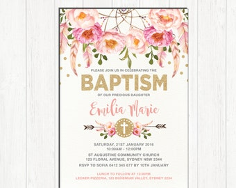 Girl Baptism Invitation. Pink and Gold Bohemian Floral Christening Invite. Pink Boho Flowers. First 1st Birthday Baby Girl Shower. FLO12A