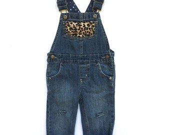 Toddler Distressed Leopard Overalls (2T) | custom denim | leopard print | toddler denim | kids denim