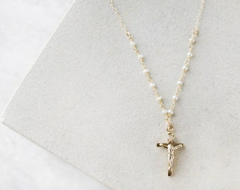 24kt Gold Crucifix Necklace, Catholic jewelry, Catholic gifts, Cross Necklace, Confirmation gift, First Communion, Baptism, Pearl Necklace