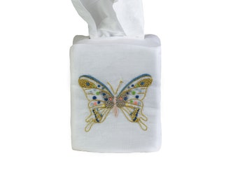 Hand Embroidered Freddy Butterfly Tissue Box Cover