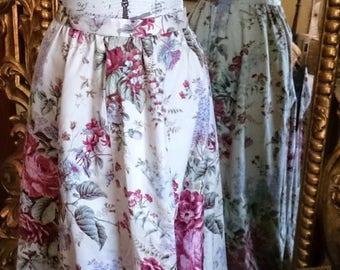 Vintage 1970's Floral Long Hostess Skirt