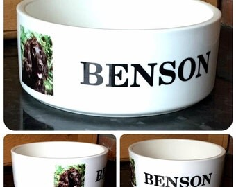 Personalised Name and/or Photo Ceramic Dog Cat Puppy Kitten Food Water Bowl
