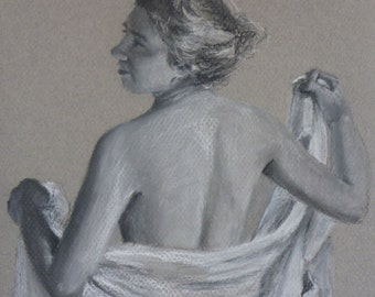 back study - an original charcoal drawing by fine artist Anita Dewitt