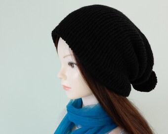 Black knit beanie-scarf, slouchy beanie, pom pom beanie, womens beanie hat, beanie men, winter hat, hats men, knit hat slouchy, size S-L