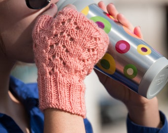 Pink mittens for women's knit - unique and original