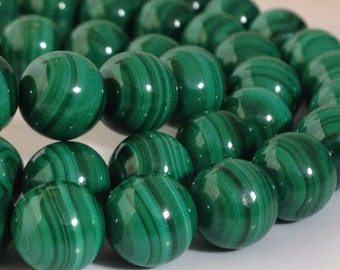 "AAA Rated Genuine Malachite Beads, 16"" Strand (3mm-10mm). 817-201"