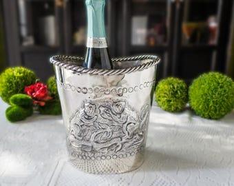Vintage Silver Plate Monkey Ice Bucket Champagne Chiller Wine Cooler Planter Basket