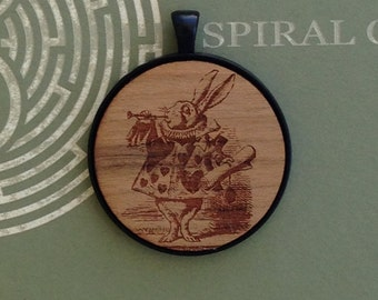 Alice in Wonderland - White Rabbit - Laser Engraved Wood Pendant Necklace