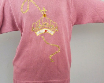 "Vintage 80's ""Queen"" Cotton Knit Jumper Pullover / Dress in Burnt Pink Gold Crown Embroidery"