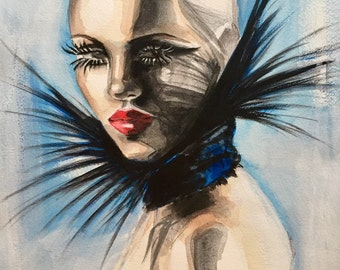 Original Acrylic and watercolor Fashion Illustration
