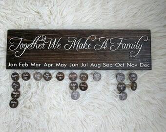 Family Birthday Disc Sign, Family Name Wall Art, Keepsake Gift