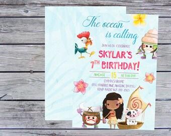 Polynesian Princess Invitation, Hawaiian Invitations, Luau Invitations, Moana Invitation, Summer Birthday Invitation, Moana Birthday invite